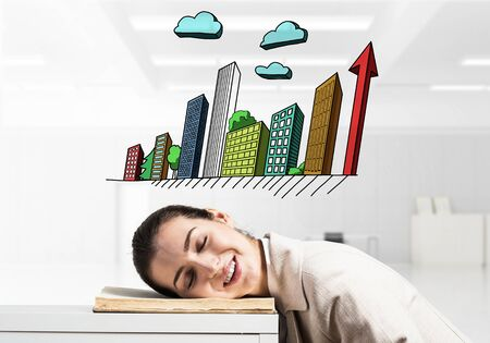 Happy business woman sleeping on workplace. Downtown with skyscrapers cartoon drawing above head. Smiling female worker in white suit dreaming in office. Real estate agency advertising. Stock fotó