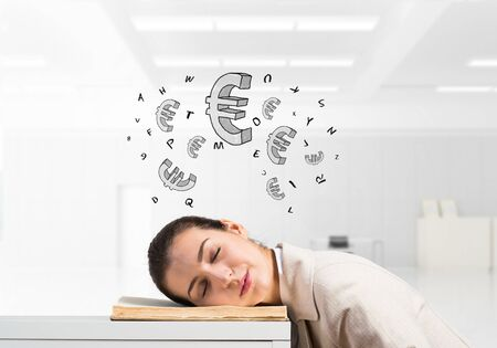 Exhausted business woman sleeping on desk. Tired corporate employee relaxing in office. Female worker in white suit dreaming. Euro currency signs flying above head. Financial profit and investment Stok Fotoğraf