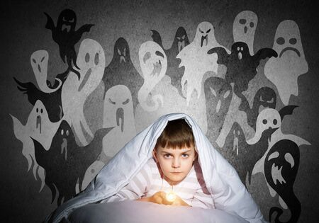 Serious child with flashlight hiding under blanket. Halloween scary ghostly monsters on wall. Attentive kid lying in his bed at home. Fear to sleep in darkness at night. Little boy in pajamas. Reklamní fotografie