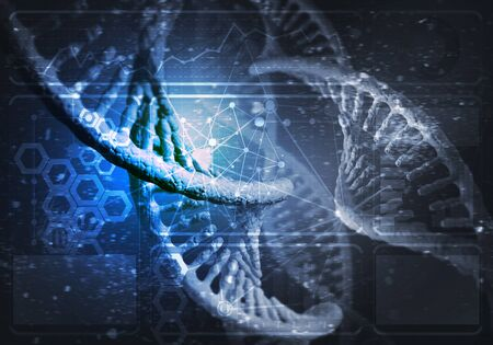 Background image with DNA molecule research concept. 3D rendering Banque d'images - 132304322