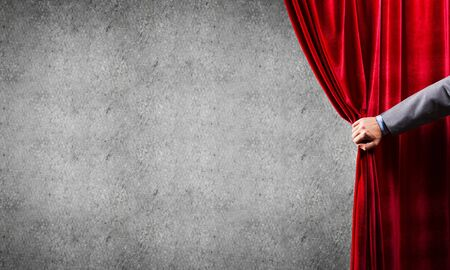 Close up of businessman hand open red velvet curtain. Place your text 스톡 콘텐츠 - 132341841