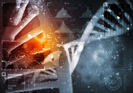 Background image with DNA molecule research concept Stockfoto - 132434134