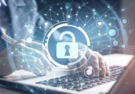 Digitale Cybersicherheit und Netzwerkschutz. Virtueller Sperrmechanismus für den Zugriff auf freigegebene Ressourcen. Interaktiver virtueller Kontrollbildschirm. Schützen Sie persönliche Daten und Privatsphäre vor Cyberangriffen und Hackern