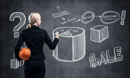 La donna di affari disegna vari diagrammi di affari sulla lavagna.