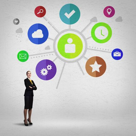 Businesswoman and color application icons