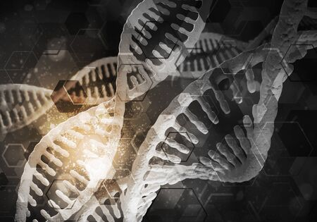 Background image with DNA molecule research concept. 3d illustration