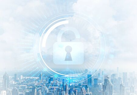 Global cybersecurity mixed media with virtual locking padlock on cityscape background. Data cryptography and internet surfing protection. Protection personal data and privacy from cyberattack. Stock Photo - 133794216