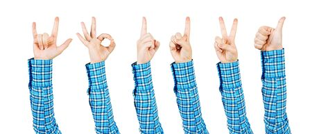 Woman hands showing various gestures. Okay, finger pointing, victory, thumb up and devil horns signs. Human hand gesturing isolated on white background. Female raised arm presenting popular gestures