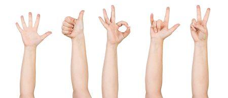 Manos de mujer mostrando varios gestos. Cuernos de diablo, pulgar hacia arriba, victoria bien y signos de dedos extendidos. Mano humana gesticulando aislado sobre fondo blanco. Brazo levantado femenino que presenta gesto popular. Foto de archivo