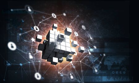 Conceptual background image with cube figure and social connection lines. 3d rendering Stockfoto