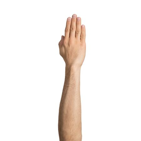 Adult man hand showing voting gesture. Participation and voting sign. Human hand gesturing sign isolated on white background. Male raised arm presenting popular gesture.