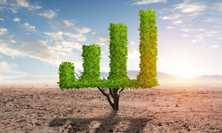 Green plant in shape of growth financial graph in desert. Business analytics and statistics. Friendly ecosystem for business and investment. Nature landscape with dry soil and blue sky. Banco de Imagens