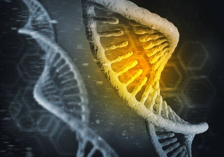 Background image with DNA molecule research concept. 3d rendering