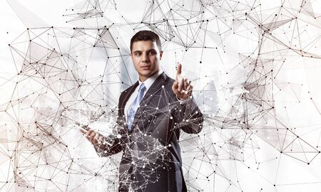Businessman pointing on abstract network composition. Man in business suit and tie on white background. Internet marketing and business development. Neural networks and artificial intelligence