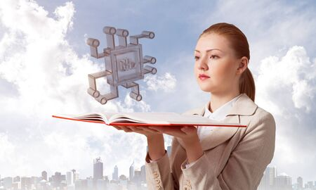 Woman holding open notebook with flying electronic circuit 3d model. Engineering and construction of artificial intelligence computer systems. Elegant lady on background of modern cityscape and sky.