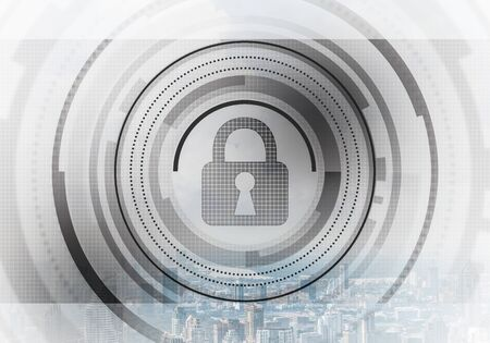 Virtual locking mechanism on background of downtown. Internet concept for identity and access management. Future cyber technology web services for business. Protect personal data and online privacy.