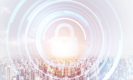 Cybersecurity mixed media with virtual locking padlock on cityscape background. Data privacy protection. Protect personal data and privacy from cyberattack. Internet identity and access management