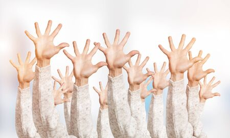 Row of man hands showing five spread fingers gesture. Hello or help group of signs. Human hands gesturing on light blurred background. Many arms raised together and present popular gesture.
