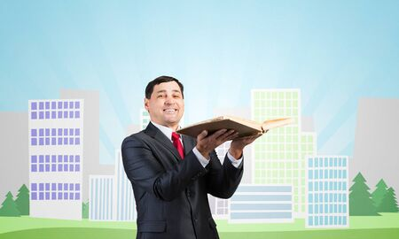 Senior businessman holding open book. Portrait of smiling adult man in business suit and tie standing on background of city illustration. Education and knowledges. Cityscape with office buildings.