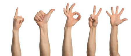Man hand showing various gestures. Okay, finger pointing, thumb up, spread fingers and victory signs. Human hand gesturing isolated on white background. Raised arms presenting popular gestures.