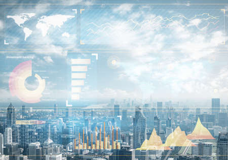 Forex trading business concept with abstract financial graphics on background of modern city skyline. Stock exchange market graph analysis. Digital analytics and statistics. Stats and economy.