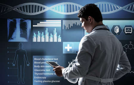 The doctor works with the digital interface. Digital Medicine Concept
