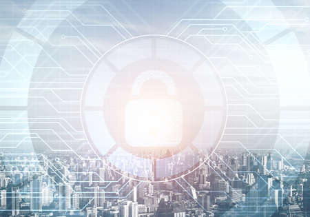 Cryptography and encryption algorithm concept. Risk management and professional safeguarding. Virtual padlock hologram on background of city skyline. Innovative security solution for business.