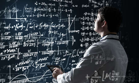 scientists work with formulas. Innovation in technology Stok Fotoğraf