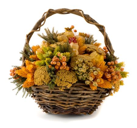 Arrangement of dried flowers in a basket Stock Photo