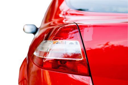 Rear lights of a red car