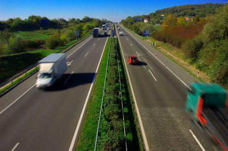 Motion blur on highway