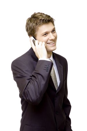 Handsome young man in suit on the phone Stock Photo