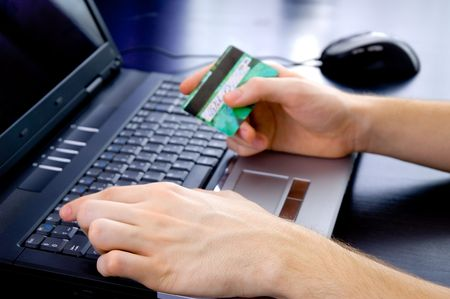 Paying online with credit card photo
