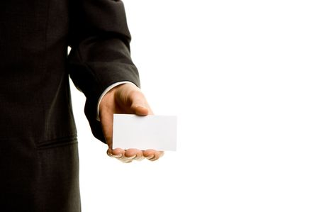 Businesscard in the hand of a businessman photo