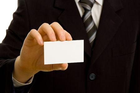 Businessman holding blank business card photo