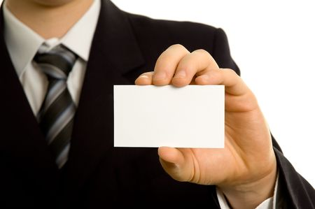 Businessman showing a blank business card photo