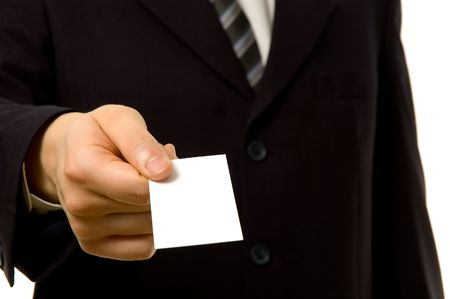 Businessman is giving you a blank business card photo
