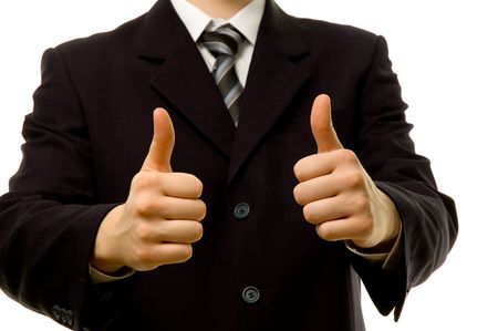 Thumbs up with both hands. Success in business.