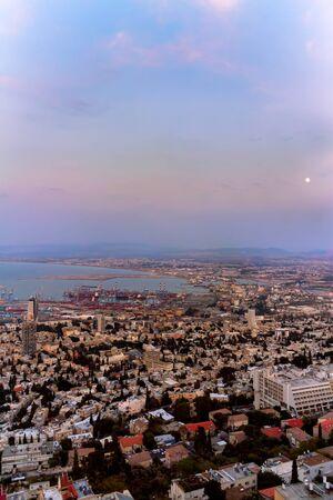 Israel's largest port on the Mediterranean Sea - Haifa at Night.