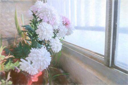 illustration- Spring Floral Background, design. Creative Flowers.Web banner. Beautiful Blue Nature Wallpaper. 写真素材 - 147588751