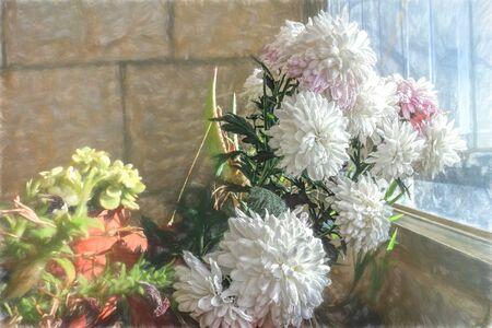 illustration- Spring Floral Background, design. Creative Flowers.Web banner. Beautiful Blue Nature Wallpaper.