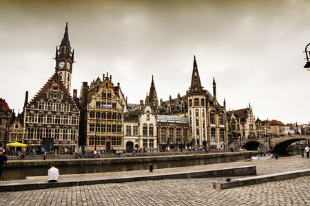 Nice houses in the old town of Ghent, Belgium photo