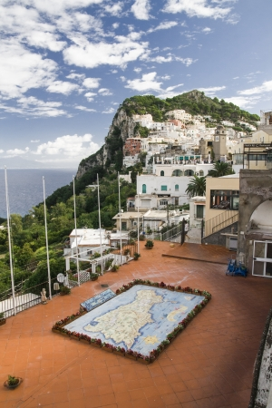 The map of Capri island made on glazed tiles in traditional style photo