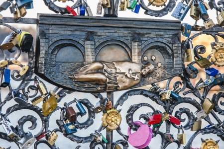 st charles: John of Nepomuk, ironwork detail at Charles bridge