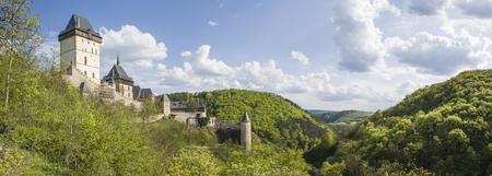Karlstejn castle in summer, panoramatic view Redakční