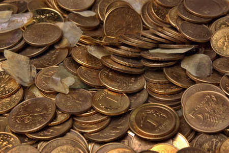 Money pennies and fortunately carp scales  Standard-Bild