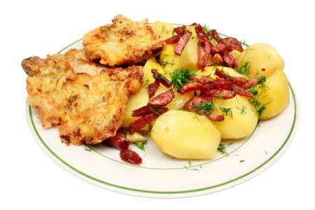 Fried pork chop with potatoes photo
