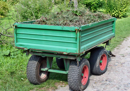 Cleaning  trailer with lawn weeds photo