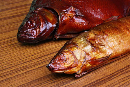 abramis: Bream and whitefish smoked fish on the table Stock Photo