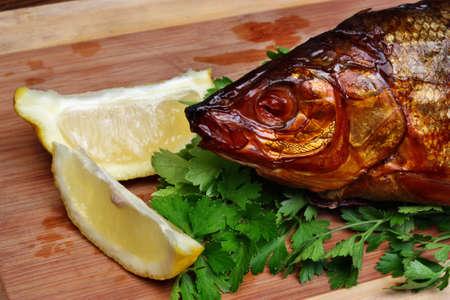 whitefish: Fish smoked whitefish on a chopping board